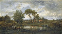 village près d'une mare dans les deux-sèvres by marie guillaume charles leroux
