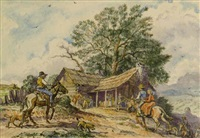 mountaineers approaching cabin on muleback by walter jack duncan