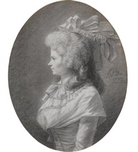 portrait of a lady, in profile by henri-pierre danloux