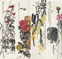 四季花鸟 (in 4 parts) by qi baishi