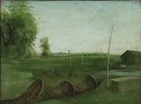 ruser på land, i baggrunden træer og fiskerhus by frederick wilhelm christian carlsen freddie