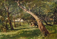 garden with trees by julius jacob the younger