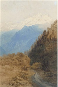 sunset in the kishenganga valley, kashmir by george strahan
