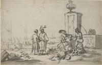 personnages près d'une fontaine, des bateaux amarrés au port à l'arrière-plan (+ une scène de bataille, verso) by zacharias blyhooft