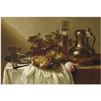 still life with a pewter flagon together with a glass of beer, a crab, a blue-and-white dish and a roemer on pewter dishes, together with a knife, hazelnuts, a tulip and bunches of grapes on a table p by cornelis cruys