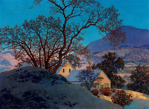 early morning first snow by maxfield parrish