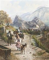 walliser familie auf dem weg nach sion by franz adolf christian müller