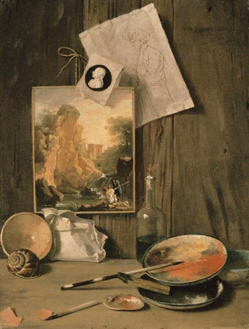 a trompe loeil still life of the artists studio by antonio cioci