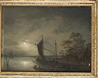 månskenslandskap med figurer och båtar by per gustaf von heideken