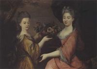 deux jeunes filles tenant une corbeille de fleurs by gilles allou