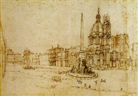 view of the piazza navona, rome by lievin cruyl