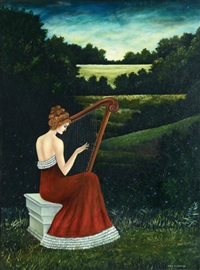 girl with a harp by meir pichhadze