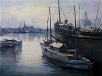 harbour scene by ruth squibb