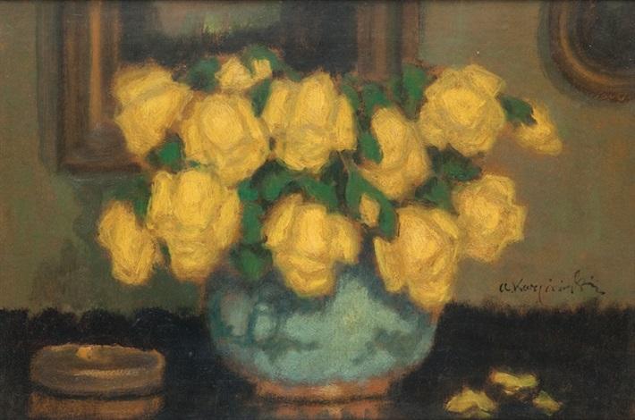 żółte róże by alfons karpinski