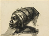 woman with headscarf (+ head of a boy; 2 works) by herman bailey