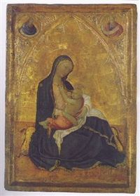 the madonna of humility with two prophets in roundels above by andrea di bartolo