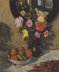 a bowl of mixed fruit, a vase of summer flowers, scissors, a reel of cotton and red fabric on a draped table before a mirror by william bernard reid