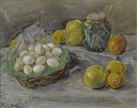 stillleben mit eiern und zitrusfrüchten by max slevogt