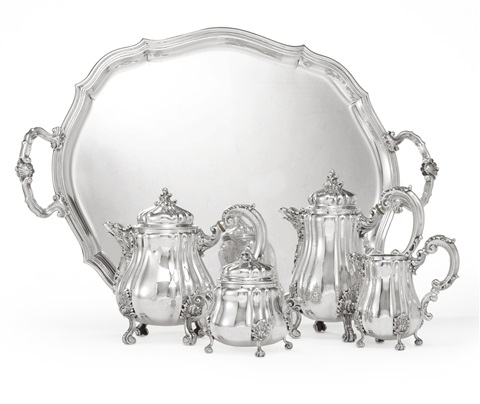 a tea and coffee set and tray set of 5 by buccellati