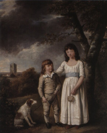portrait of a yuoung boy and a girl with their dog by richard livesay