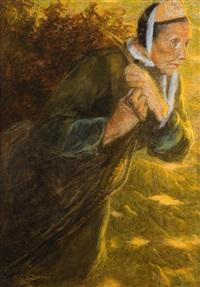 femme portant un fagot by lucien lévy-dhurmer