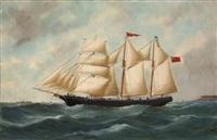 trois mâts barque quittant le havre by édouard adam