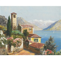villa on a sunlit bay by gottfried arnegger