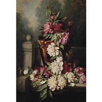 still life with peonies by frederick s. batcheller