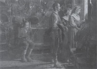 escena de interior con figuras mirando por la ventana by augusto daini