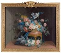 panier de fleurs sur un tabouret by louis tessier