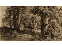 sheep in a wooded grove by samuel palmer