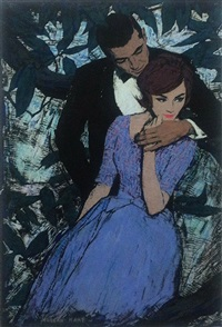 elegant couple, he behind her, trees in background (illus. for mccalls magazine) by morgan kane