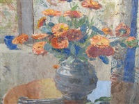a still life of poppies in a vase on a table, by a window by janetta susan gillespie