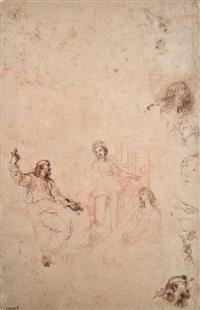 le christ chez marthe et marie et composition dans un paysage (recto) by michel corneille