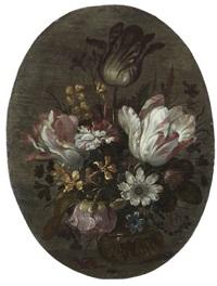 bouquet de fleurs sur un entablement by hans bollongier