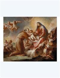 madonna che consegna il bambino a san felice da cantalice by francesco conti