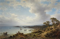 a mediterranean coastal scene with fishing boats in a bay and figures resting in the foreground by johannes hilverdink