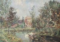 manoir au bord de l'étang by jules merckaert