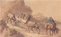 figures with donkeys pulling a carriage by lettorio subba