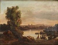 landskap med slott och kyrka by theodor billing