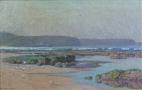 beach scene with gulls, probably newport by william lister-lister