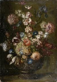bouquet de fleurs sur un entablement by karel van vogelaer