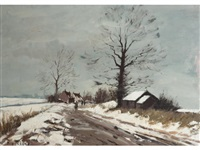 figures on a road in winter by roy petley