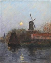 voiliers et moulin au clair de lune, 31 décembre by siebe johannes ten cate