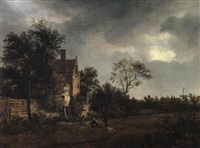 wooded landscape with travellers resting by a cottage by isaak van ruysdael