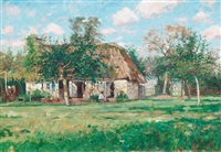 farmhouse in normandy, scene from villerville by axel lindman