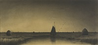 twilight on newbury marsh by american school (19)