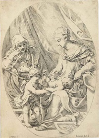 holy family; madonna and child; st. jerome; cupid sleeping in a tent; two cupids under a tent; cupid breaking his bow; coat of arms of guasta vilani; the rewards of study (8 works) by lorenzo loli
