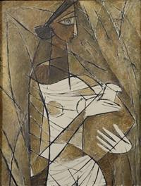 portrait cubiste de femme a la cruche by paritosh sen