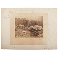 interior of breastworks on round top, gettysburg by alexander gardner